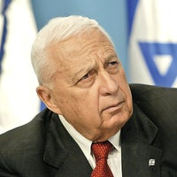 Then-Prime Minister Ariel Sharon at a press conference at his Jerusalem office, May 2004.