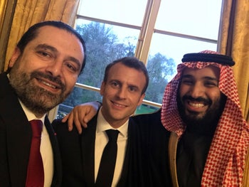 A photo tweeted by Lebanese Prime Minister Saad Hariri on April 9, 2018, shows Hariri taking a selfie with French President Emmanuel Macron and Saudi Crown Prince Mohammed bin Salman in Paris.