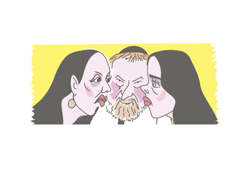 Illustration: Attorney General Avichai Mendelblit is caught between his deputy, Dina Zilber, and Justice Minister Ayelet Shaked.