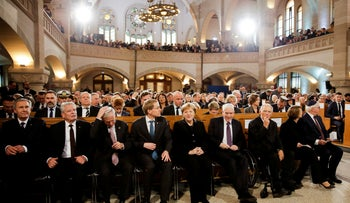German state officials and Jewish leaders attend an event commemorating the Night of Broken Glass 1938 at the synagogue Rykestrasse in Berlin, Germany, 2018.