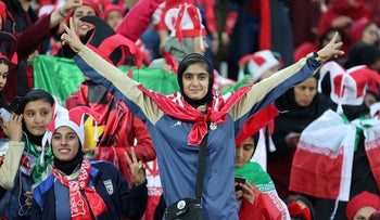 Persepolis' female fans cheer for their team at the second leg of the AFC Champions League final football match with Japan, November 10, 2018.