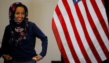U.S. Democratic congressional candidate Ilhan Omar attends a gun violence prevention roundtable with former U.S. Representative Gabby Giffords in Minneapolis, Minnesota, U.S., October 26, 2018