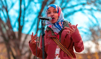 Democratic congressional candidate the Midterm elections, Ilhan Omar, speaks to a group of supporters at University of Minnesota in Minneapolis, Minnesota, on November 2, 2018