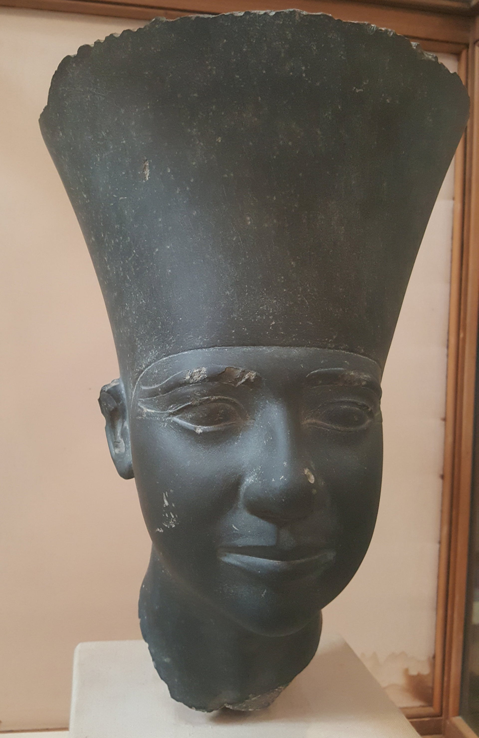 Head of Fifth Dynasty founder Userkaf, who ruled in the early 25th century B.C.E., recovered from his temple to Ra; Egyptian Museum