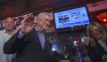 Longtime Rep. Dana Rohrabacher (R-Costa Mesa) leaves after talking to reporters on Election Night on November 6, 2018 in Costa Mesa, California. Rohrabacher and Democratic challenger Harley Rouda are running to represent the 48th Congressional district