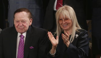 File Photo: American business magnate Sheldon Gary Adelson and his wife Miriam Adelson, March 3, 2015.