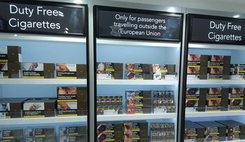 Duty-free cigarettes on sale at London's Heathrow Airport.