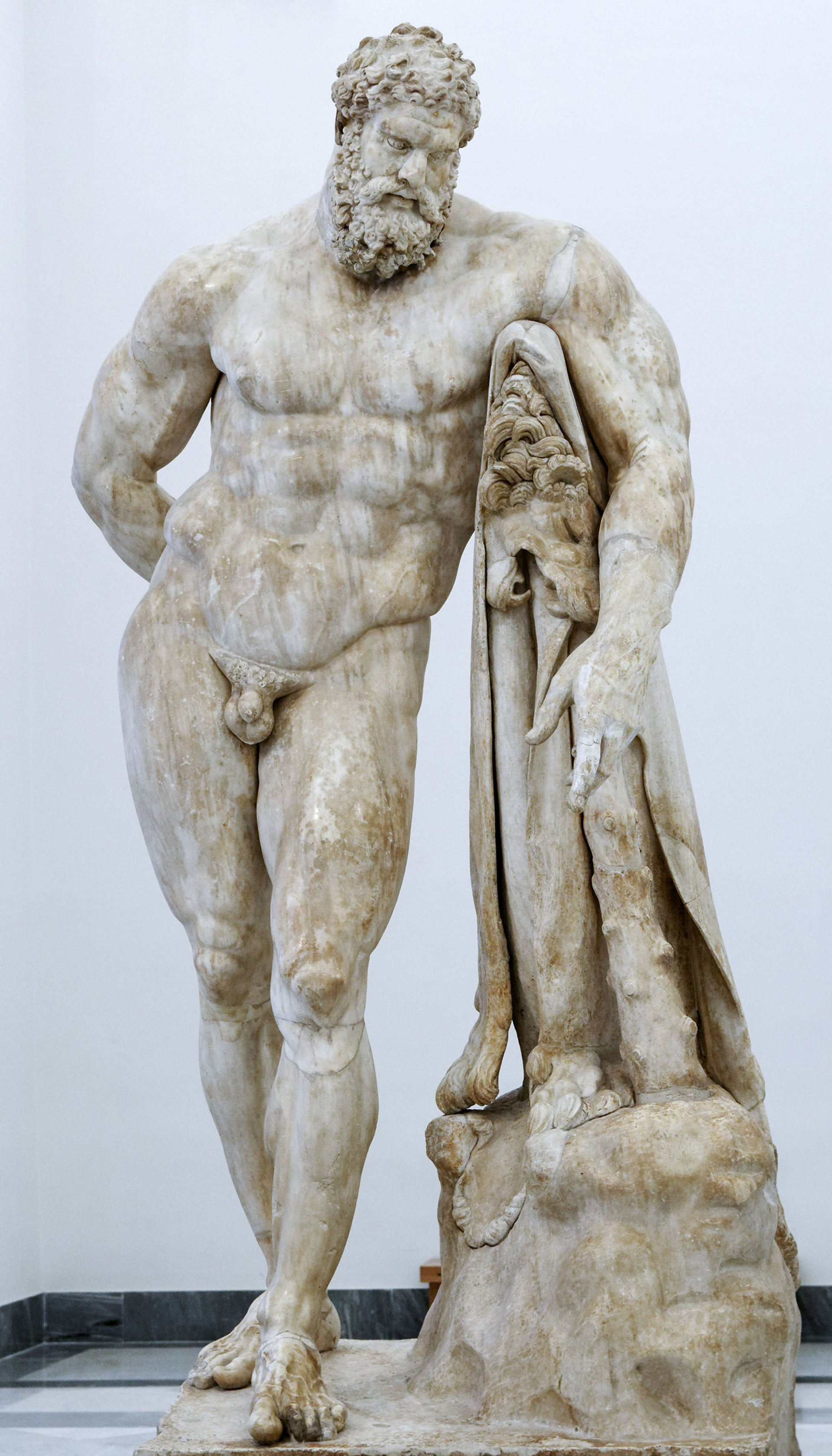 Statue of Herakles at rest carrying fruit in his right hand. Roman copy of the Imperial era after a Greek original of the Early Hellenistic era; the left forearm is restored in plaster.