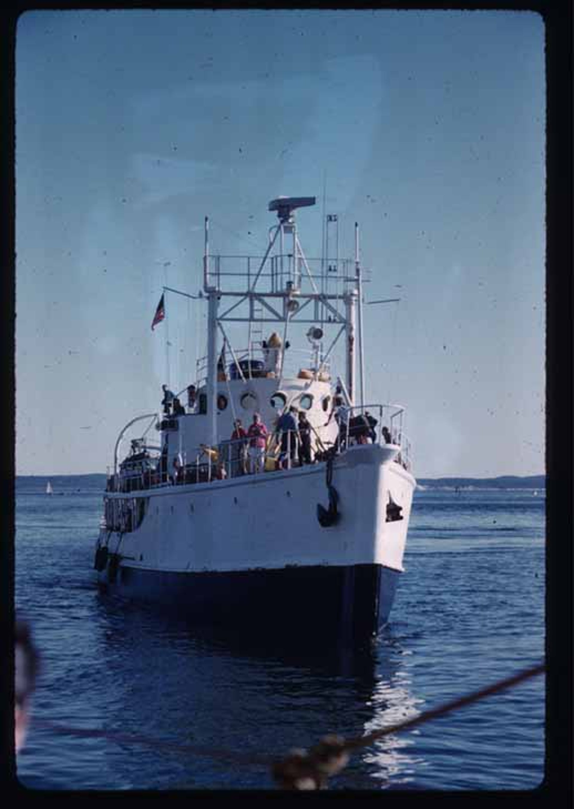 """The 43-meter research vessel Calypso, one of the stars of """"Undersea World of Jacques Cousteau"""" outside Antikythera"""
