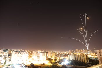 Iron Dome missiles intercept rockets fired from Gaza, November 13, 2018.
