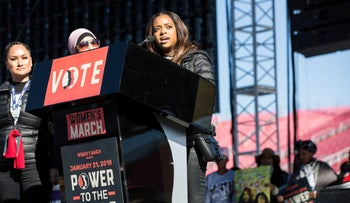 Tamika Mallory, co-chair for the Women's March, right, speaks next to fellow co-chairs Carmen Perez, left, and Linda Sarsour at the Women's March one-year anniversary in Las Vegas, NV, Jan. 21, 2018.