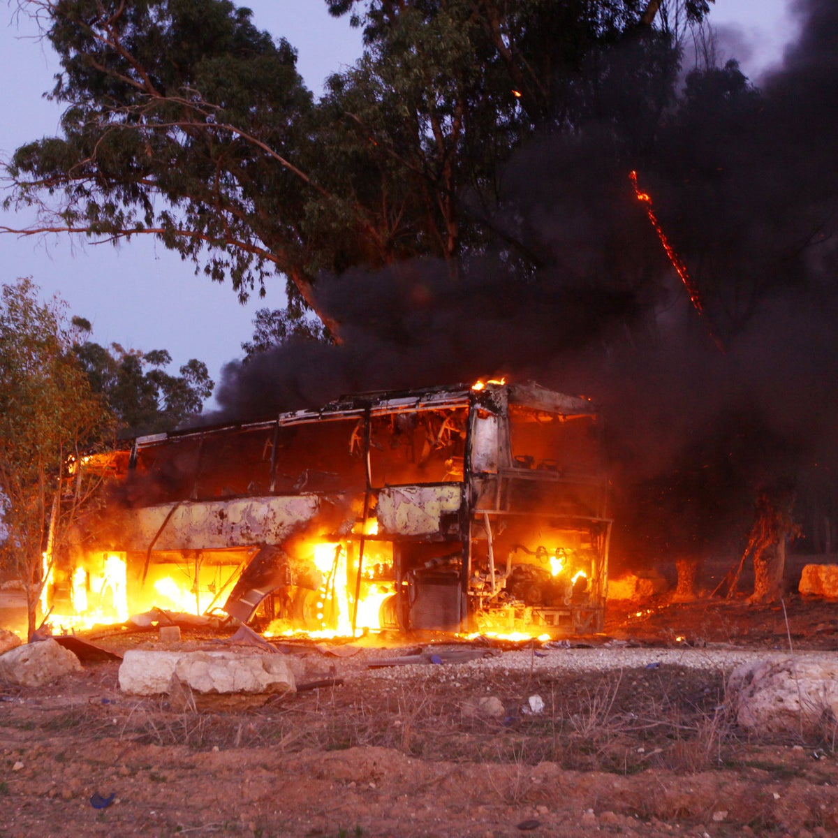 Monday, 16:30: A bus set ablaze after it was hit by a rocket fired from the Gaza Strip, at the Israel-Gaza border near the kibbutz  Sha'ar Hanegev region, Nov. 12, 2018.