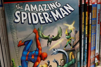 """A Spider-Man book cover. Stan Lee co-created the character in 1962. """"He's got all these powers but he's so nerdy, and he has all this trouble with getting a job, paying the rent – he's almost a Seinfeld with webbing,"""" says Rabbi Simcha Weinstein."""