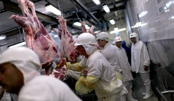 Workers process meat on a production line at the Minerva SA meat processing plant in Barretos, Brazil, on Tuesday, Aug. 20, 2012.