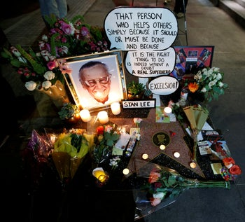 Flowers and mementos for Spider-Man co-creator Stan Lee on the Hollywood Walk of Fame in Los Angeles, California, November 12, 2018.