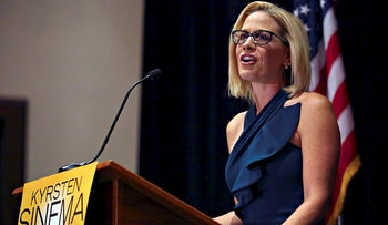 Democratic candidate Kyrsten Sinema speaks to supporters after officially winning the U.S. Senate race at the Omni Montelucia resort in Scottsdale, Arizona, U.S., November 12, 2018