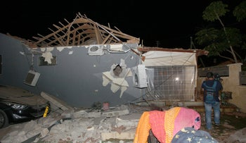 A house destroyed by a direct missile hit from Gaza in Netivot, on the Israel-Gaza border, November 12, 2018.
