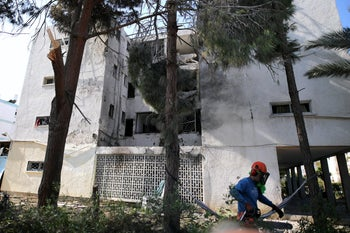 The front of the building that was hit by a rocket in Ashkelon.