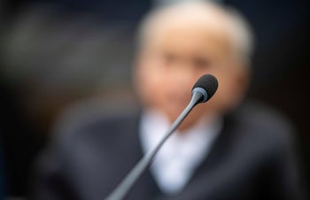 The 94-years-old defendant, a former SS guard, blurred for privacy reasons, in court in Muenster, Germany, November 13, 2018.