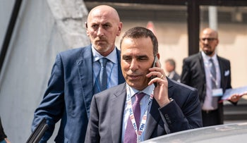 FILE Photo: Amos Genish leaves in meeting in Rossano, Italy, May 4, 2018.