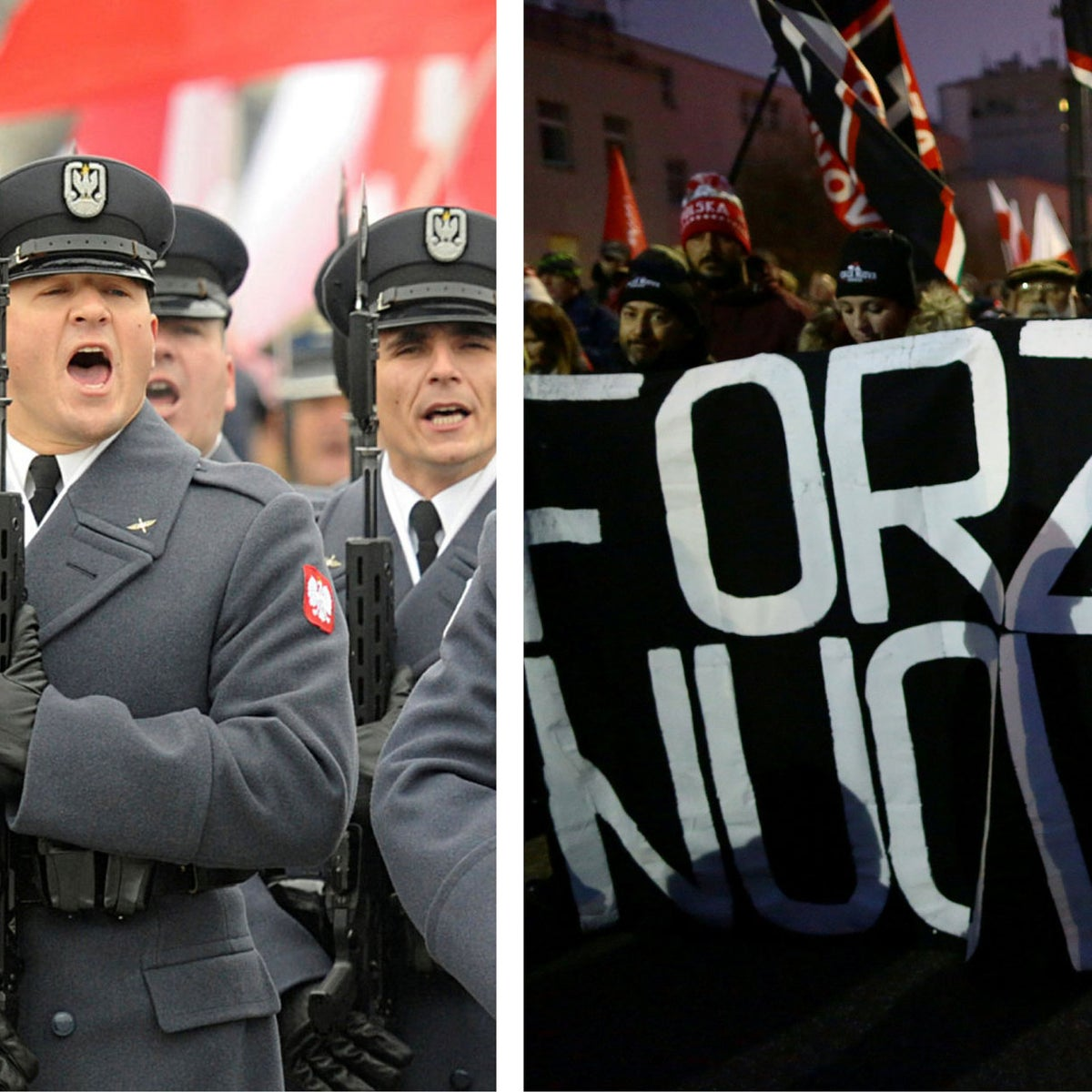 Polish Army soldiers salute during the official ceremony marking Poland's Independence Day, in Warsaw, Poland, Sunday, Nov. 11, 2018. / People carry banner of Italian far-right party Forza Nuova.