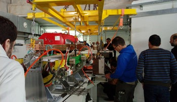 Vacuum chamber being installed in SESAME's dipole magnet