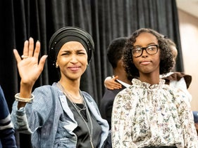 Ilhan Omar, newly elected to the U.S. House of Representatives, celebrates with her supporters after her Congressional 5th District primary victory in Minneapolis, MN on Nov. 6, 2018.