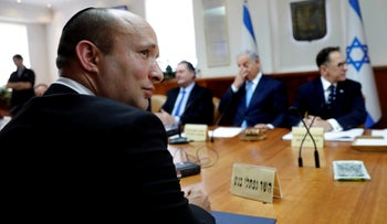 Israeli Education minister Naftali Bennett attends the weekly cabinet meeting at the Prime Minister's office in Jerusalem September 12, 2018.