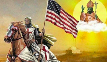 A favorite online meme of the white supremacist far right harks back to medieval times: Donald Trump as America's Crusader president against the specter of a 'Judeo-Muslim enemy'