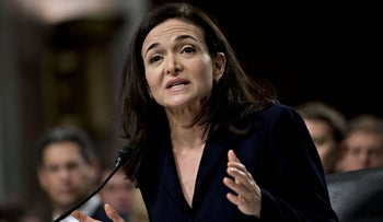 Sheryl Sandberg, chief operating officer of Facebook Inc., speaks during a Senate Intelligence Committee hearing in Washington, D.C., U.S., September 5, 2018.