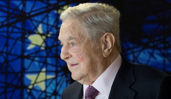 In this April 2017 file photo, Open Society Foundations founder George Soros waits for the start of a meeting at EU headquarters in Brussels.