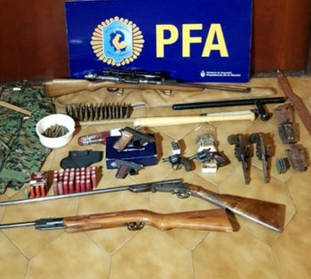 Weapons and ammunition that were found by Argentine police.