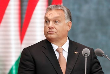 Hungarian Prime Minister Viktor Orban delivers a speech during the celebrations of the anniversary of the Hungarian Uprising of 1956, in Budapest.