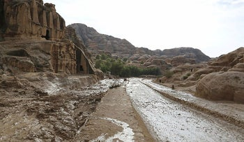 This picture taken on November 10, 2018, in Petra, western Jordan, shows the effects of flash floods that killed several people across the region