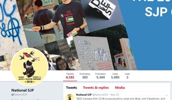 Image of Students for Justice in Palestine's official Twitter account