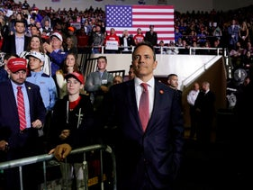 Governor of Kentucky Matt Bevin watches as U.S. President Donald Trump speaks during a Make America Great Again rally in Richmond, Kentucky, U.S., October 13, 2018.