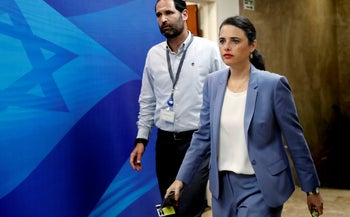 Justice Ayelet Shaked  arrives ahead of the weekly cabinet meeting at the Prime Minister's office, 2018.