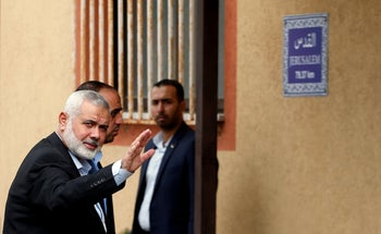 Hamas Chief Ismail Haniyeh gestures as he arrives to meet an Egyptian security delegation in Gaza City October 18, 2018