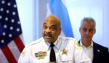 Chicago Police Superintendent Eddie Johnson speaks in a press conference as Chicago Mayor Rahm Emanuel looks on, October 30, 2017.