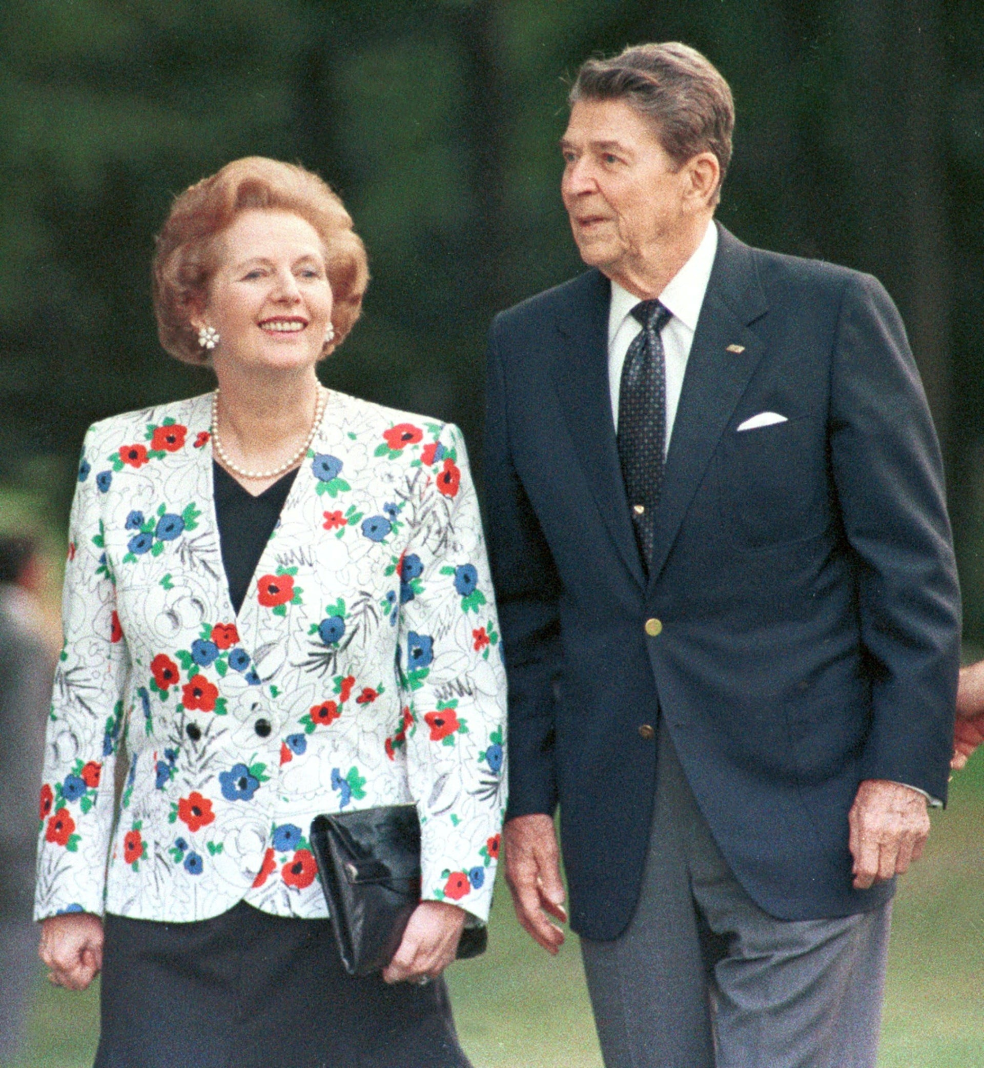 Former U.S. President Ronald Reagan and former British Prime Minister Margaret Thatcher in 1988. Promised to 'roll back the welfare state'