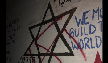 An image posted to social media of a swastika painted over a mural in memory of the Tree of Life synagogue attack in Pittsburgh, November 2018.