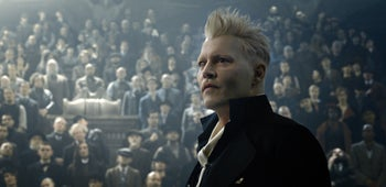 "Johnny Depp as Grindelwald in ""Fantastic Beasts: The Crimes of Grindelwald."""