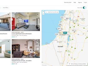 A map of Israel and the West Bank, as seen through Airbnb