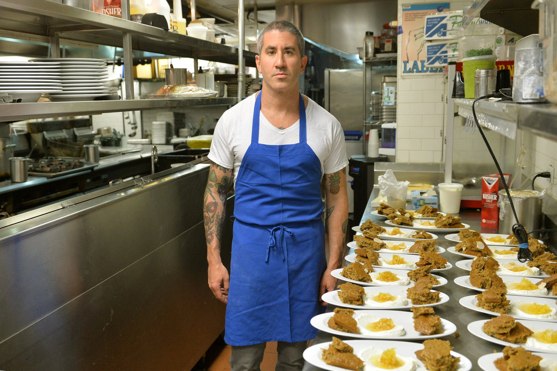 Michael Solomonov stands by Israeli dishes he prepared.