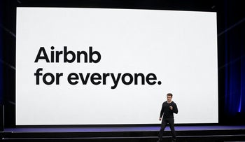 Airbnb co-founder and CEO Brian Chesky speaks during an event in San Francisco. Feb. 22, 2018
