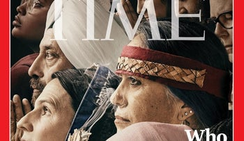 Rabbi Sharon Brous, wearing a blue tallit, can be seen on Time Magazine's latest cover