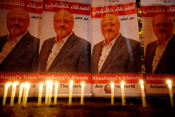 Pictures of Jamal Khashoggi outside the Saudi consulate in Istanbul.