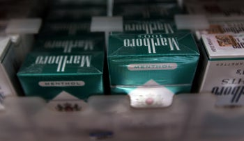 Menthol cigarettes are seen for sale on a shelf at a store in Miami, Florida.