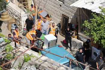 Eviction of a Palestinian family from Silwan, April 2018.