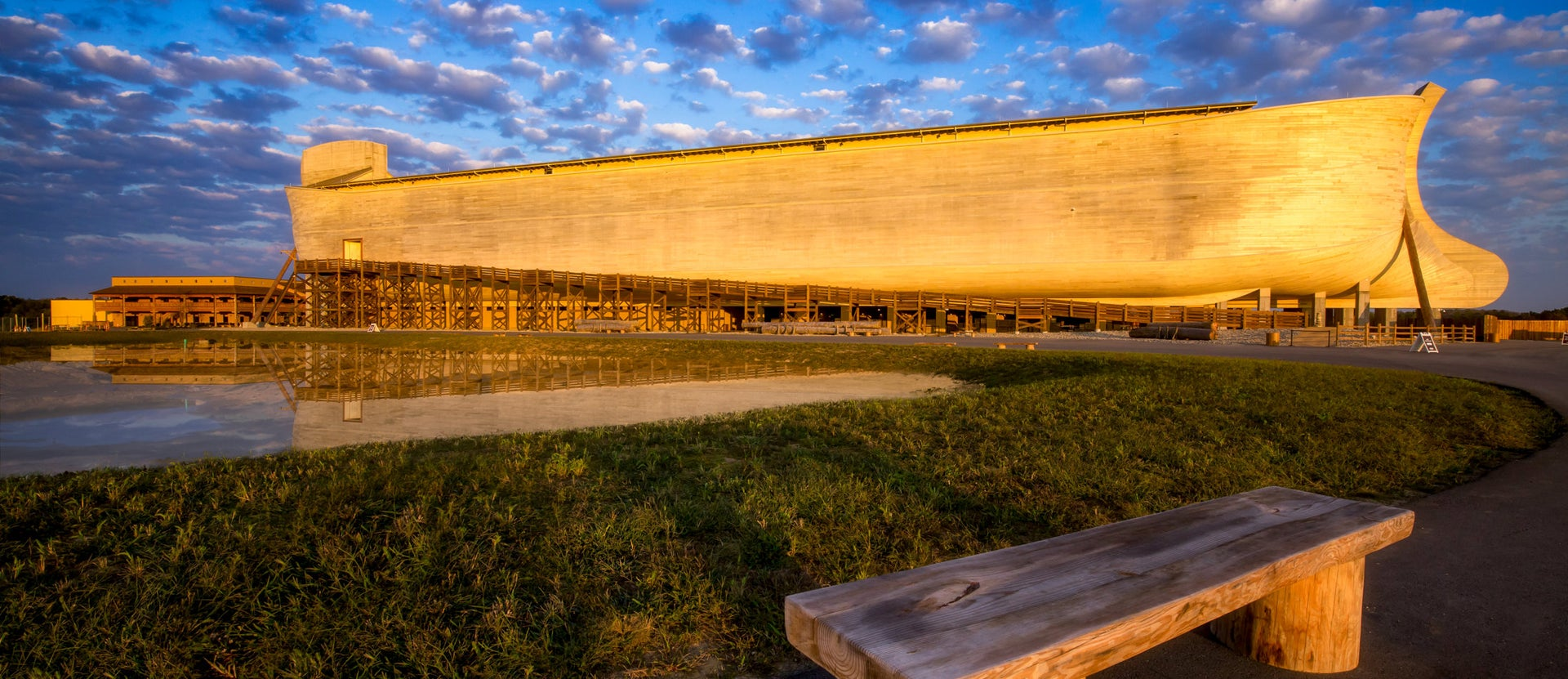 Noah's Ark, the centerpiece of The Ark Encounter, a tourist attraction in Kentucky.